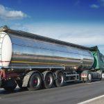 Big fuel gas tanker truck on highway
